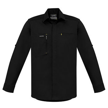 ZW350 - Mens Streetworx L/S Stretch Shirt Black Front