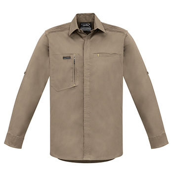 ZW350 - Mens Streetworx L/S Stretch Shirt Khaki Front