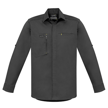 ZW350 - Mens Streetworx L/S Stretch Shirt Charcoal Front