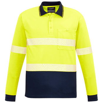 ZH530 - Unisex Hi Vis Segmented L/S Polo - Hoop Taped - Yellow Navy