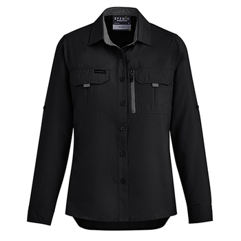 ZW760 - Womens Outdoor L/S Shirt Black Front
