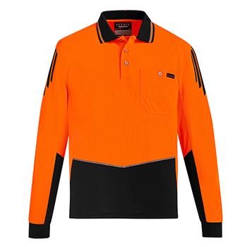 ZH310 - Mens Hi Vis Flux L/S Polo Orange/Black Front