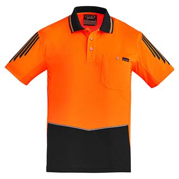 ZH315 - Mens Hi Vis Flux S/S Polo Orange/Black Back