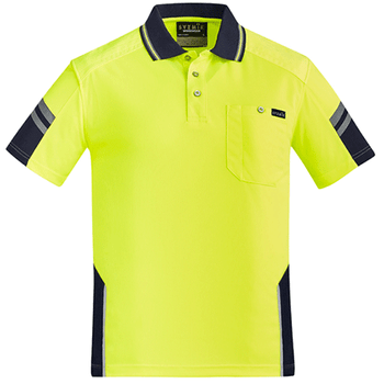 ZH465 - Mens Reinforced Hi Vis Squad S/S Polo - Yellow Navy