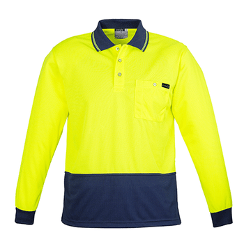 ZH410 - Mens Comfort Back L/S Polo Yellow/Navy Front