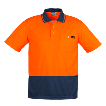 ZH415 - Mens Comfort Back S/S Polo Orange/Navy Front