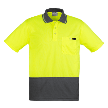 ZH415 - Mens Comfort Back S/S Polo Yellow/Charcoal Front