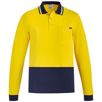 ZH430 - Mens Hi Vis Cotton L/S Polo - Yellow Navy