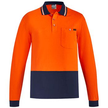 ZH430 - Mens Hi Vis Cotton L/S Polo - Orange Navy