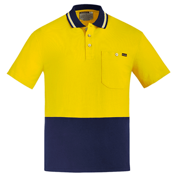 ZH435 - Mens Hi Vis Cotton S/S Polo Yellow Navy