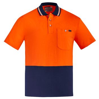 ZH435 - Mens Hi Vis Cotton S/S Polo Orange Navy