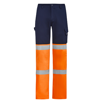ZP980 - Mens Bio Motion Hi Vis Taped Pant Navy/Orange Front