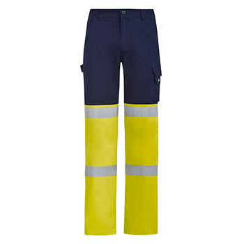 ZP980 - Mens Bio Motion Hi Vis Taped Pant Navy/Yellow Front