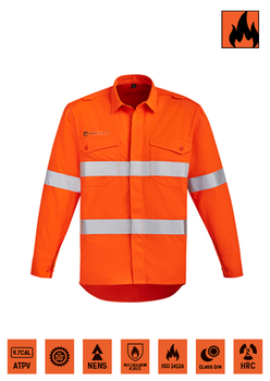 Flame resistant, taped orange shirt.