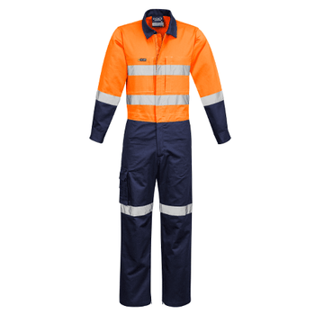 ZC804 - Mens Rugged Cooling Taped Overall Orange/Navy Front