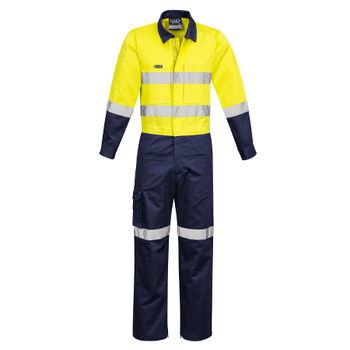 ZC804 - Mens Rugged Cooling Taped Overall Yellow/Navy Front