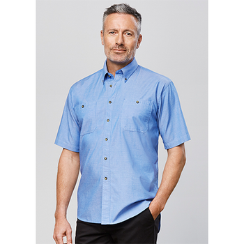 SH113 - Mens Wrinkle Free Chambray Short Sleeve Shirt