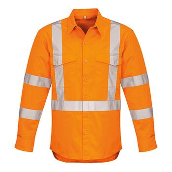 ZW690 - Mens Hi Vis X Back Taped Shirt Orange Front