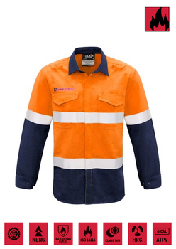 ZW132 - Orange/ Navy with Reflective Tape. Spliced Shirt - Syzmik - Flame Resistant