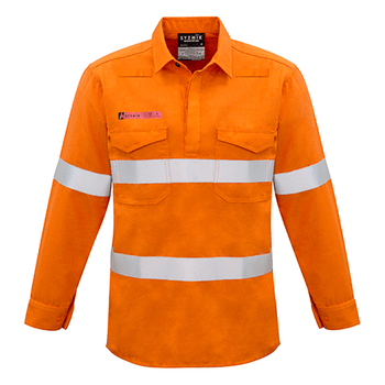 ZW134 - Mens FR Closed Front Hooped Taped Shirt Orange Front