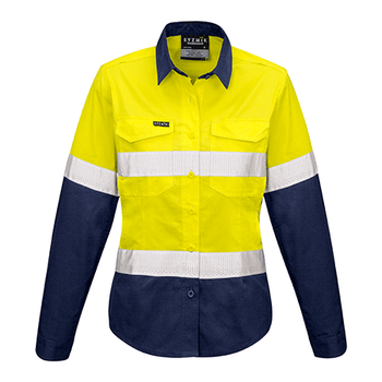 ZW720 - Womens Rugged Cooling Taped Hi Vis Spliced Shirt Yellow/Navy