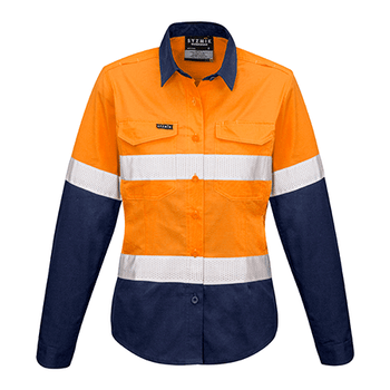 ZW720 - Womens Rugged Cooling Taped Hi Vis Spliced Shirt Orange/Navy