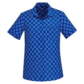 CS948LS - Womens Florence Daisy Print Short Sleeve Shirt Electric Blue