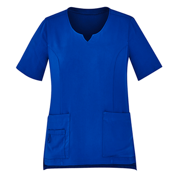 CST942LS - Womens Tailored Fit Round Neck Scrub Top Electric Blue
