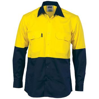 3840 - Hi Vis 2 Tone Cool-Breeze L/S Cotton Shirt - Yellow-Navy