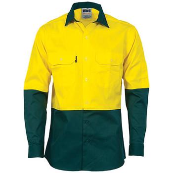 3840 - Hi Vis 2 Tone Cool-Breeze L/S Cotton Shirt - Yellow-Bottle