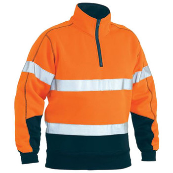 BK6989T - Taped Hi Vis Two Tone Fleece Pullover - Orange-Navy