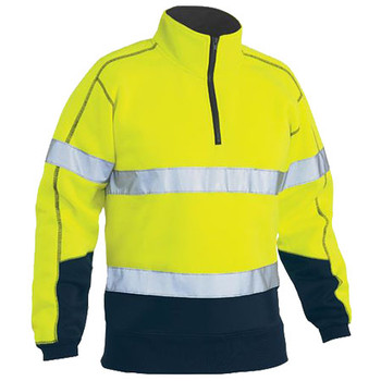 BK6989T - Taped Hi Vis Two Tone Fleece Pullover - Yellow-Navy