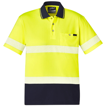ZH535 - Unisex Hi Vis Segmented S/S Polo - Hoop Taped - Yellow Navy
