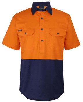 6HVCW - Hi Vis Close Front S/S 150G Work Shirt