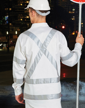 WT09HV - Mens White Safety Shirt with X Back Biomotion Tape Configuration