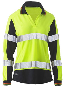 BKL6225T - Womens Long Sleeve Taped Two Tone Hi Vis V-Neck Polo