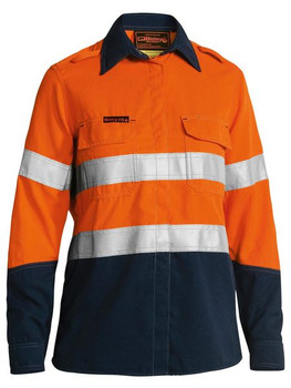 BL8082T - Womens Taped Two-Tone Hi-Vis FR Vented L/S Shirt