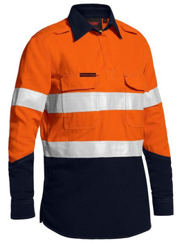 BLC8075T - Womens Taped Two Tone Hi Vis FR Closed Front Shirt L/S