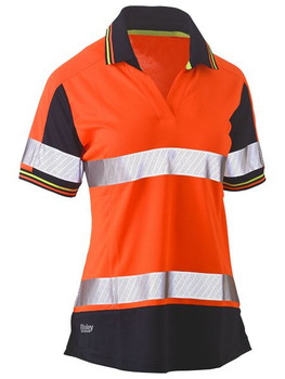 BKL1225T - Womens Short Sleeve Taped Two Tone Hi Vis V-Neck Polo