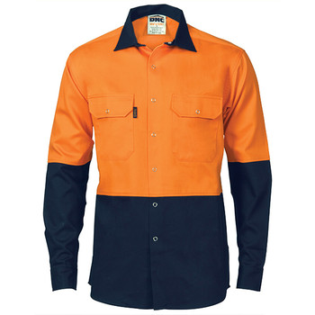 3838 - HiVis Two Tone Drill Shirt with Press Studs - Orange Navy
