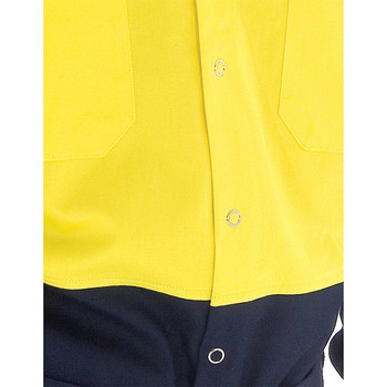 3838 - HiVis Two Tone Drill Shirt with Press Studs - Yellow Navy