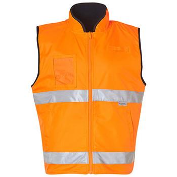 SW49 - High Visibility Reversible Mandarine Collar Safety Vest - Orange-Navy