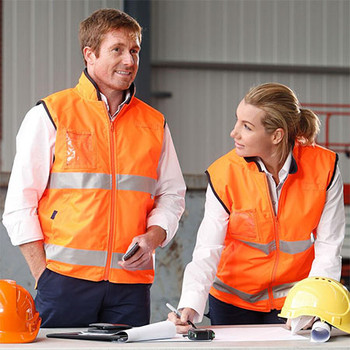 SW49 - High Visibility Reversible Mandarine Collar Safety Vest - Display