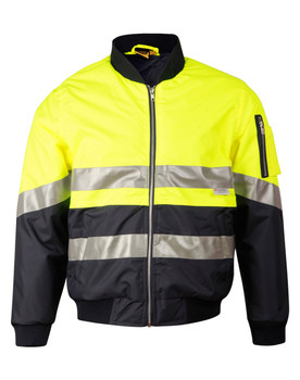 SW16A - Hi-Vis Two Tone Flying Jacket - Yellow/Navy02