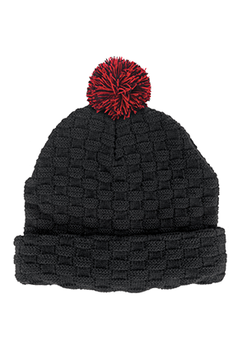 Black-Red - 4220 Pom Pom Beanie