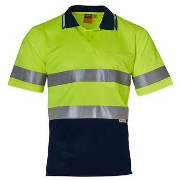 Yellow Navy - SW17A Short Sleeve Safety Polo
