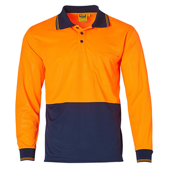 Fluoro Orange-Navy - SW05CD High Visibility Long Sleeve Polo