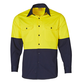 Yellow-Navy - SW58 Long Sleeve Safety Shirt