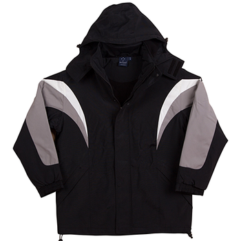 Black-White-Red - JK28 BATHURST Tri-colour Jacket With Hood Unisex - Winning Spirit