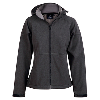 Marl Charcoal-Charcoal - JK34 ASPEN Softshell Hood Jacket Ladies - Winning Spirit